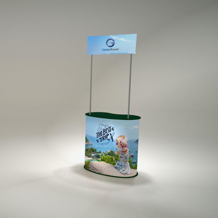 Műanyag pult Íves táblával